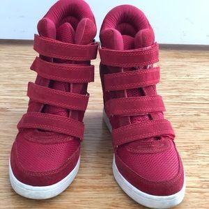 Aldo red wedge booties!